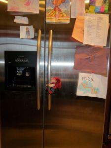 Elf on the fridge door