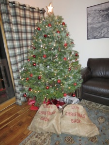 Christmas sacks filled by Father Christmas