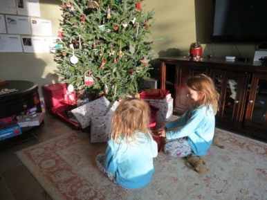 Waiting patiently to start on the presents!