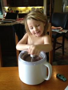Churning the ice cream