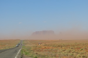 Sand storm in Monument Valley